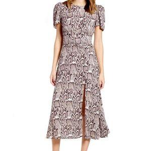 AFRM Lala Snakeskin Print Midi Dress Short Sleeve